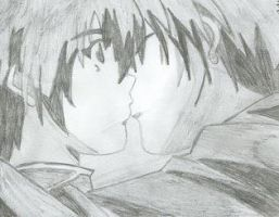 Shuichi and Yuki share a kiss by alchemicalxromance