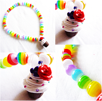 Cupcake Rainbow Necklace by Cateaclysmic
