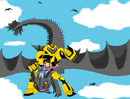 Bumblebee, Haley and Stitch riding Toothless by Fluttershy626