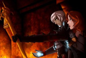 DA2: Hawke and Fenris by Maloneyberry
