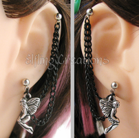 Silver and Black Fairy Connecting Chain Earrings by merigreenleaf