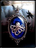 Octopus Pendant Necklace BLUE by Horribell-Originals