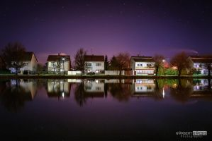 Houses in the mirror - Night by NorbertKocsis