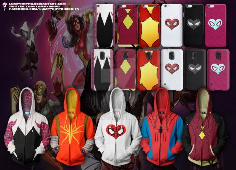 Spider-Women Hoodies 2 by lumpyhippo