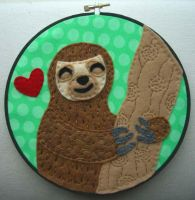 Happy Sloth Embroidery Hoop by iggystarpup