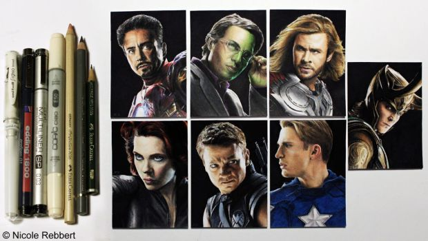 Avengers and Loki - sketch cards by Quelchii