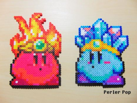 Fire and Ice Kirby Perlers by Perler-Pop