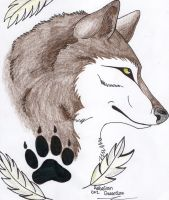 Feather Wolf Commission by JinxxyDinxx
