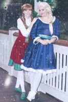 Christmas Anna and Elsa from Frozen by Nostalchick by NostalchicksCosplay