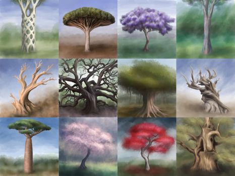 Speed-paintings of trees by nerds2x2ever