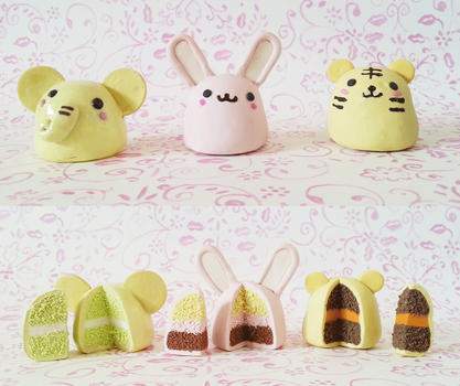Polymer Clay : Animal Cakes by CraftCandies