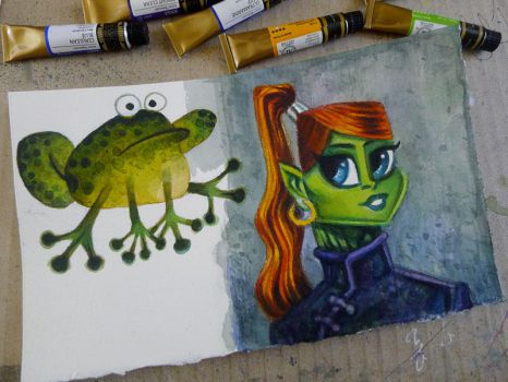 frog and girl by ecofugal