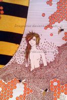 Naked Guy in flowers with bees by Dragoonsa