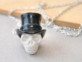 Top Hat Skull Necklace by Madizzo