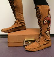 Haida Whale leather moccasins by ravenmountain