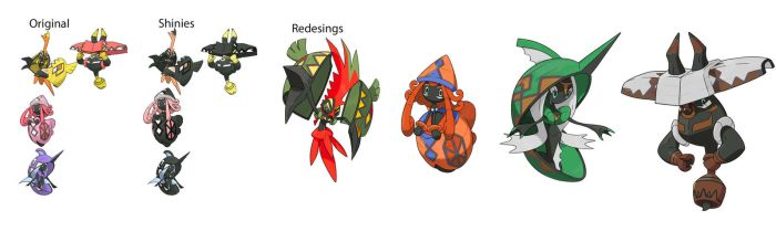 Shiny Redesigns Island guardians by GGArtwork