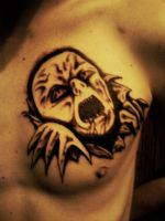 demon chest tattoo by Lukaniann