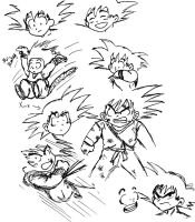 Goku sketches by HybridYuki
