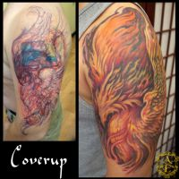 Flag into Phoenix Cover-Up Tattoo done by Sean by seanspoison