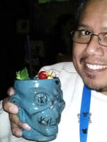 Me with a Shrunken Zombie Head Drink by Pabloramosart