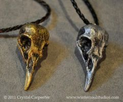 Gold and Silver Bird Skulls by soulofwinter