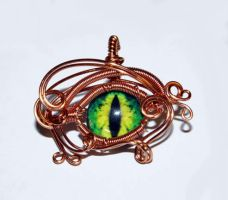 Copper Wire Wrap Green Glass Dragon Eye Pendant by Create-A-Pendant