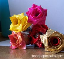 Duct tape rose pens by sandpaperdaisy
