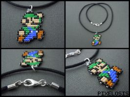 Handmade Seed Bead Luigi Necklace by Pixelosis