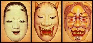 Japanese Noh Demon Masks by enchantedgal