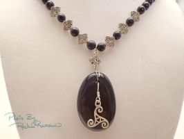 Blue Goldstone with Triskele Pendant 48 by TheSortedBead
