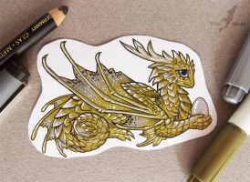 Golden dragon sticker by AlviaAlcedo