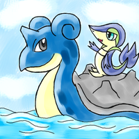 Lapras And Helexize the Snivy by PokeSonFanGirl