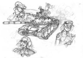 Three Girls and a Tank by Sanity-X