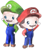 Mario and Luigi by chunsmunkey