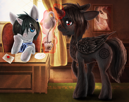 Ciel and Sebastian in MLP (contest entry) by Buizel149