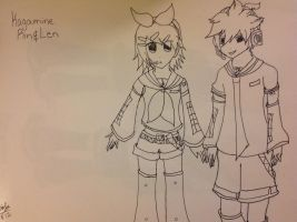Kagamine twins lineart I thik heheh. by Shmivey