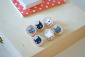 Kitten Family - wooden brooch by perfectnoseclub