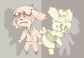 Animal Crossing - Digby and Isabelle by AnimezingArtist