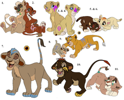 Some New Tribal Cub Adoptables (1 left) by Claire-Cooper
