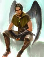commissioned male angel for P.K. Rivule by linhsiang