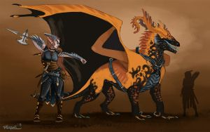 A dragon and his rider by RachelleFryatt