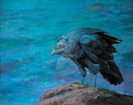 Raven. The Great Flood,  oil on canvas by OwlgaKat