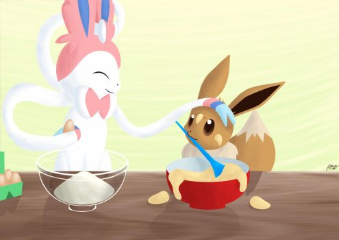 Cooking with Eevee by CrazyMacYo