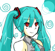 Lazy drawn Miku by ILenrequestsomeshota