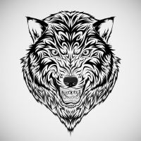 Wolf Head Tribal Tattoo by kuzzie-013
