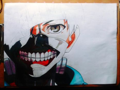 Kaneki Ken work progress (traditional art)  by Alfian-san