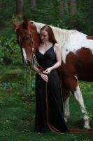 STOCK red haired woman and horse I by MyladyTane