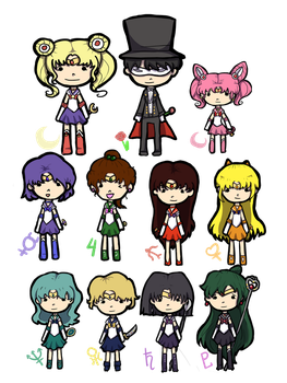 Sailor Moon Chibis by echo-shadoe