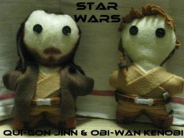 Star Wars Plushies-Qui Gon and Obi Wan- by calceil