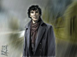 BBC Sherlock in the Rain by semie